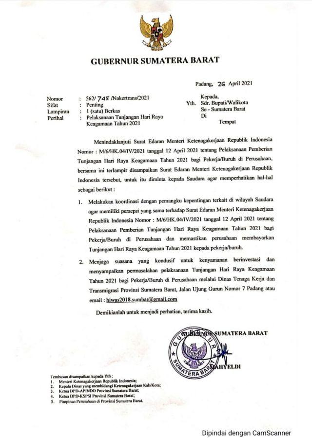 Gubernur Mahyeldi : Harapkan Perusahaan Bayarkan THR Karyawannya Tepat Waktu